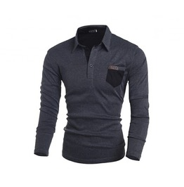 Men's Pocket Long Sleeved Turtleneck Slim Shirt