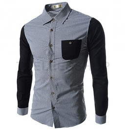 Men's Casual Contrast Plaid Shirt