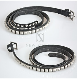 Multipe Squared Stud Accent 15mm Leather Belt 53