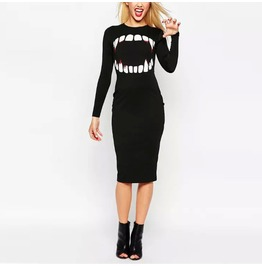 Novelty Tooth Print Skiny Dress Women's