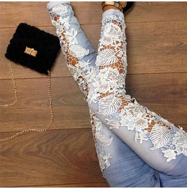 Crochet Lace Patchwork Denim Blue Skinny Hollow Out Pants Women's