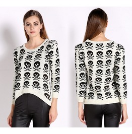 Skulls Printed Short Style Knitted Sweaters Women's