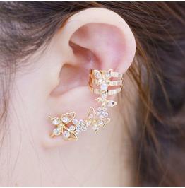 Women Fashion Rhinestone Flower Butterfly Ear Clip Non Pierced Earrings
