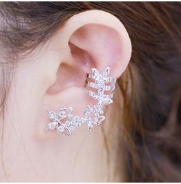 Women Fashion Rhinestone Butterfly Ear Clip Non Pierced Earrings