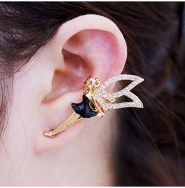 Punk Summer Fashion Drip Diamond Angel Wing Ear Clip Non Pierced Earrings