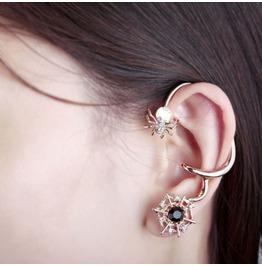 Punk Summer Exaggerated Diamond Cobwebs Ear Clip Non Pierced Earrings