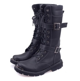 Men's Punk Faux Leather Black High Boots