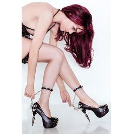 Black Fetish Bond Gothic Stiletto Heel Vegan Pumps W Studded Ankle Straps