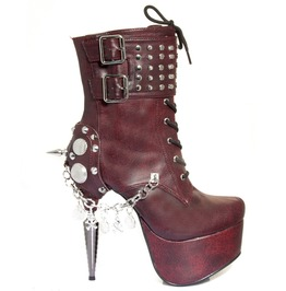 Red Artemis Fetish Hades Metal Stiletto Heel Gothic Vegan Studded Booties