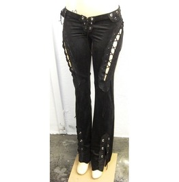 Italiano Couture Black Funky Open Lace Pants