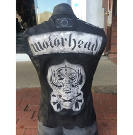 Motorhead Tribute Dirty Waxed Black Denim Vest Biker Jacket Slim Fit