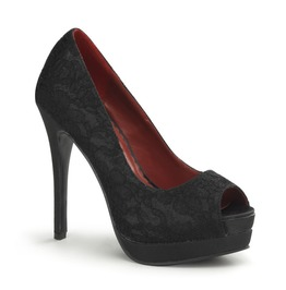 Pin Up Couture Bella Black Satin Lace Overlay Peep Toe Heels