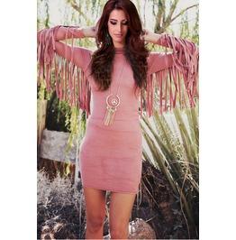 Tassel Decorate Skinny Solid Long Sleeve Mini Dresses Women's