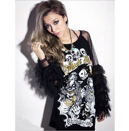 Skeleton Printed Mesh Patchwork Hollow Out Back Long Slevee T Shirt Women's