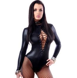 Black Leather Bodysuits Women's