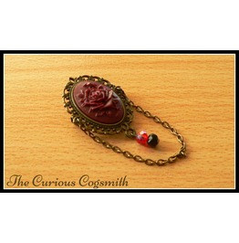 Gothic Red Rose Brooch