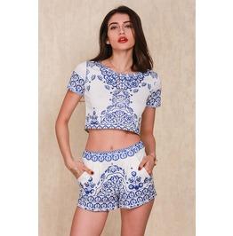 Blue Porcelain Two Piece Women's Romper Short Sleeve Jumpsuit