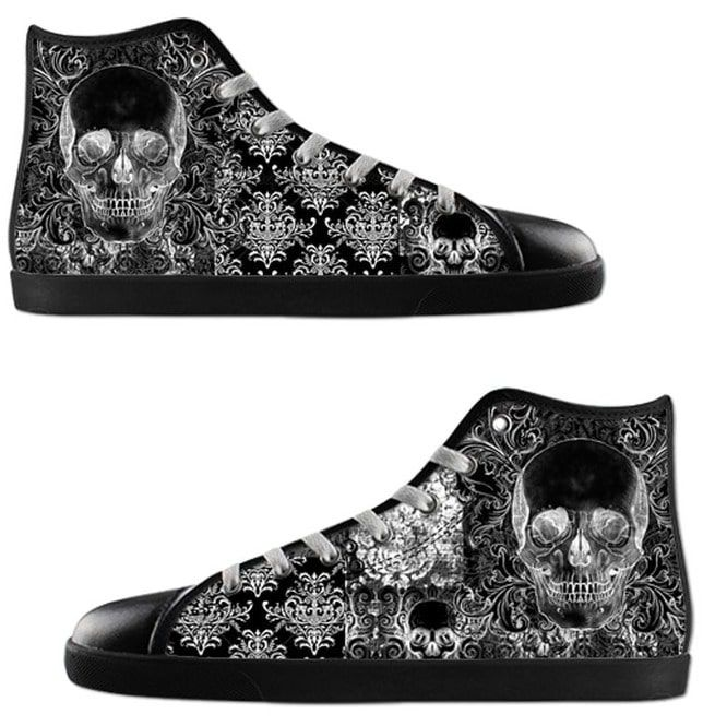 d0ed93695fd63 Quilted Skull Ladies High Tops