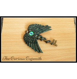 Green & Bronze Winged Cthulhu Key Pendant