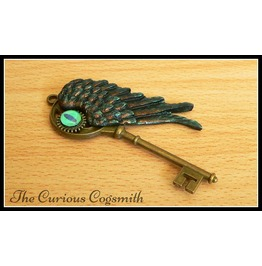 Green & Bronze Winged Key Pendant