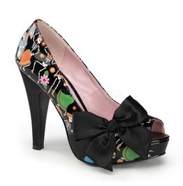 Pin Up Couture Bettie Patent Black Satin Platform Pump With Muertos Print