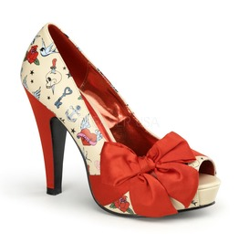 Pin Up Couture Bettie Cream Pu Red Satin Platform Pump With Tattoo Print