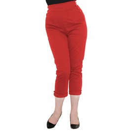 Voodoo Vixen Henrietta Capri Pants (Red + Black)