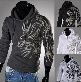 Mens Dragon Men Dark Gray / Black / White / Light Grey Colors Hoodie Hoody