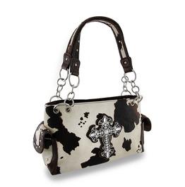 Faux Fur Cow Print Gothic Cross Studded Handbag