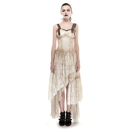 Steampunk Irregular Lace Maxi Slip Dress Q 291