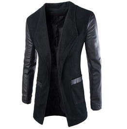 Trendy Large Pocket Pleather Splice Slimming Blazer 137430305drsli