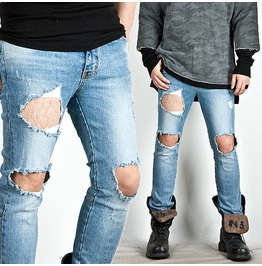 Heavy Ripped Blue Denim Slim Jeans 212