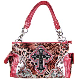 Pink Leopard Studded Rhinestone Cross Look Shoulder Handbag