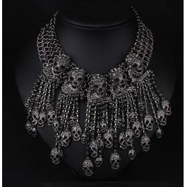 Personalized Crystal Skulls Bones Necklace