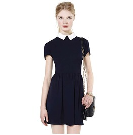 Vintage White Turn Down Collar Black Slim Dress