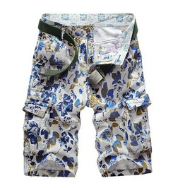 Men's Cotton Floral Printed Camouflage Cargo Shorts