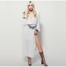 Bohemian Single Breasted High/Low Long Sleeved Lace Up Dress