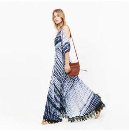 Bohemian Wave Printed Cutout Shoulders Plunge Maxi Dress