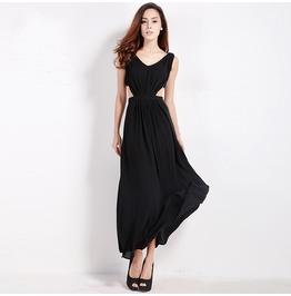 Vintage V Neck Hollow Waist Black Maxi Party Dress