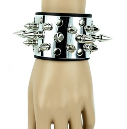 Metal And Spike Leather Bracelet Punk Gothic Rockabilly Hardcore