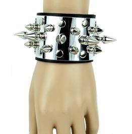 Metal And Spike Leather Bracelet Punk Gothic Rockabilly Hardcore