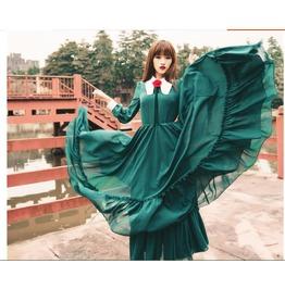 Retro Womens Ladies Full Long Dress Ball Down Sleeve Lolita Gothic Victoria