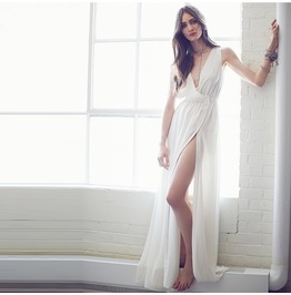 Bohemian White Deep V Neck Slit Maxi Dress