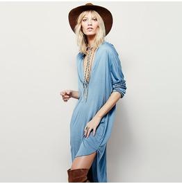 Bohemian deep v high low long sleeved casual dress dresses 6