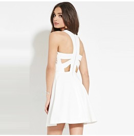 Vintage Cutout Backless White Zipper Dress