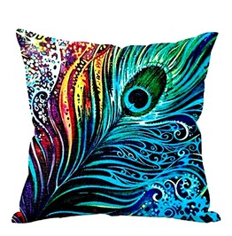 Awesome Colourful Boheniam Peacock Feather Cushion Cover Design