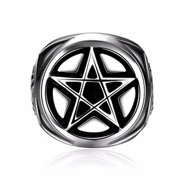 Awesome Mens 316 L Stainless Steel Pentagram Pagan Ring Us 11