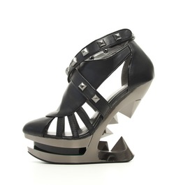 Black Krace Hades Goth Platform Pyramid Studded Punk Fetish Wedge Sandals