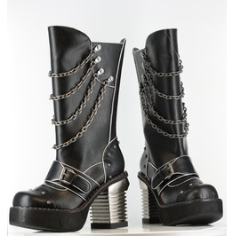 Black Krull Knee High Gothcic Punk Fetish Metal Heel Chain Boots $9 To Ship