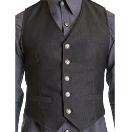 Grey Denim Cotton Male Vest Gray Nyc Button Formal Gilet Halter Formal Top